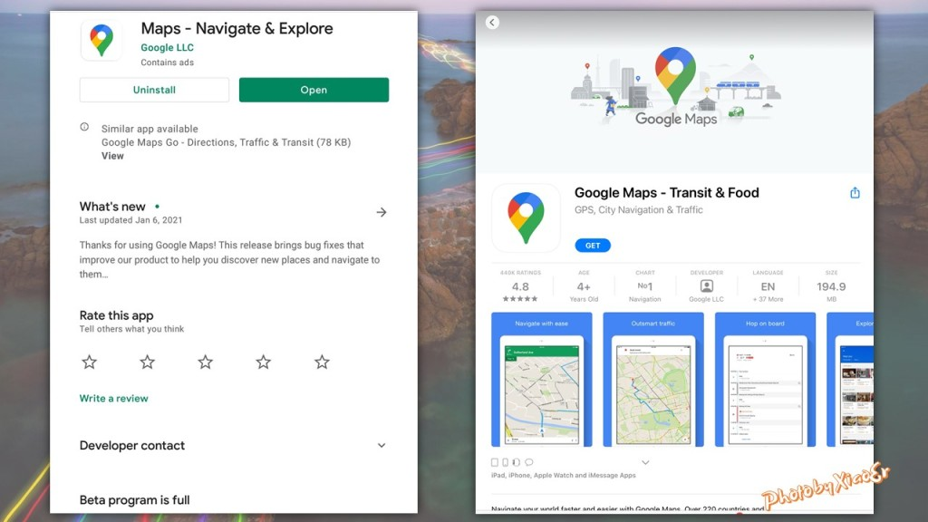 Google Maps app on Play Store and App Store
