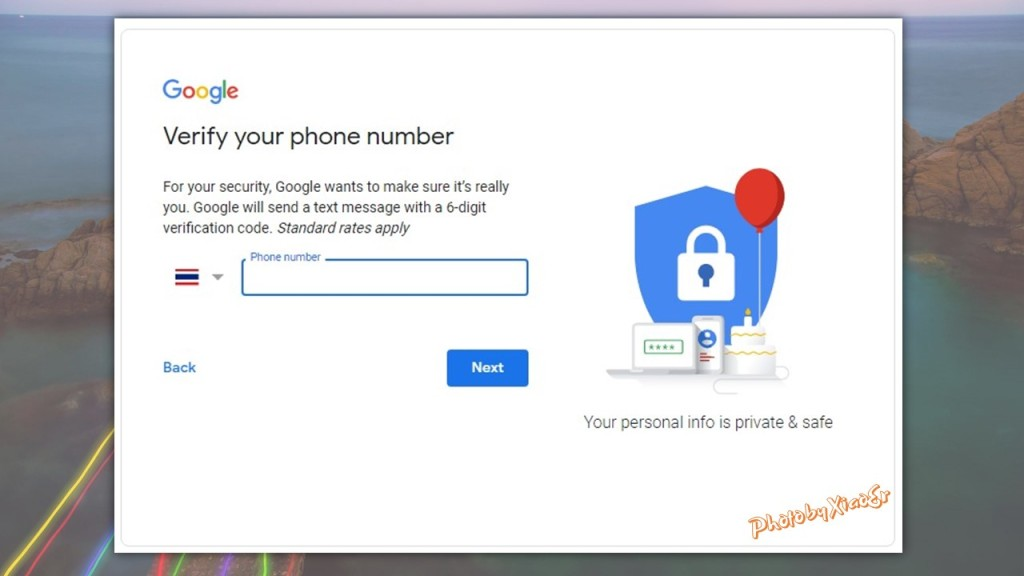Enter Phone Number for Google Account