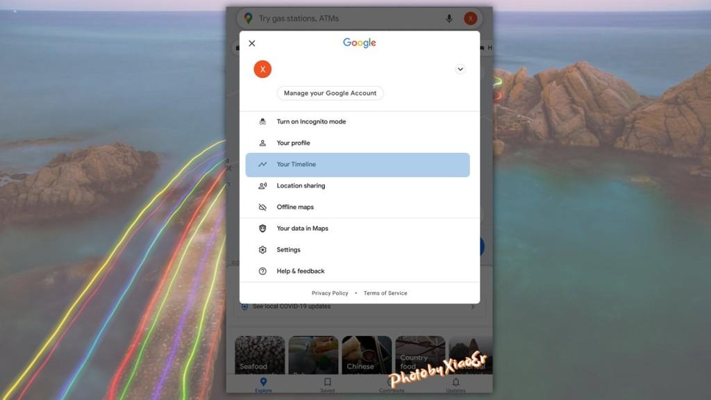 Timeline Menu in Google Maps