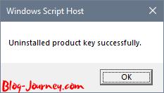 Windows Product Key uninstalled successful dialog